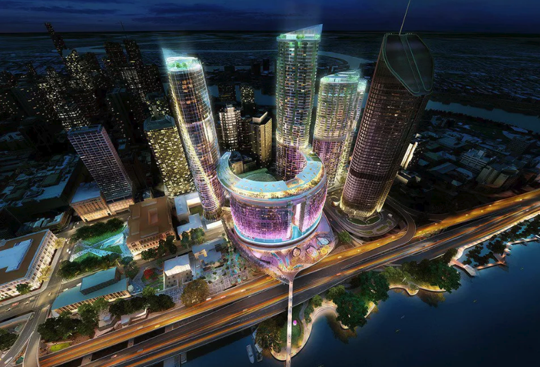 Queens Wharf will deliver over 1,000 hotel rooms across five hotels, a residential precinct of 2,000 units, a 100 metre sky deck, 50 bars and restaurants and a pedestrian bridge connection to Southbank.