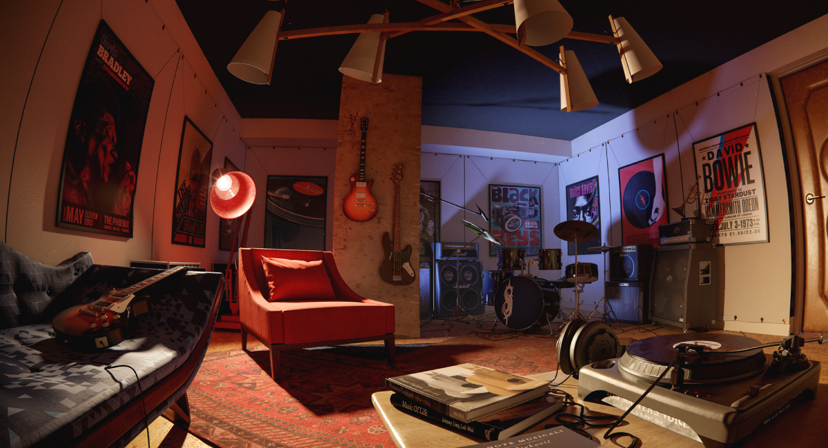 "Perhaps the most unique amenity is the ""Jam Room"" – a place to play guitar, jam, scratch records and smoke cigars. In the rendering, we chose to portray it with a fish eye lens to evoke the feeling of chilling in the corner and taking a snap."
