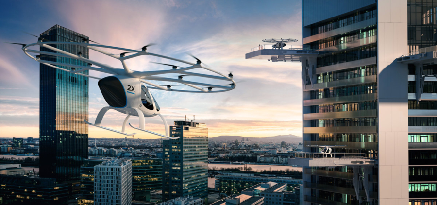 The Volocopter operate quietly that at a flight height of 100 metres, it isn't heard over the typical background noise of a city.