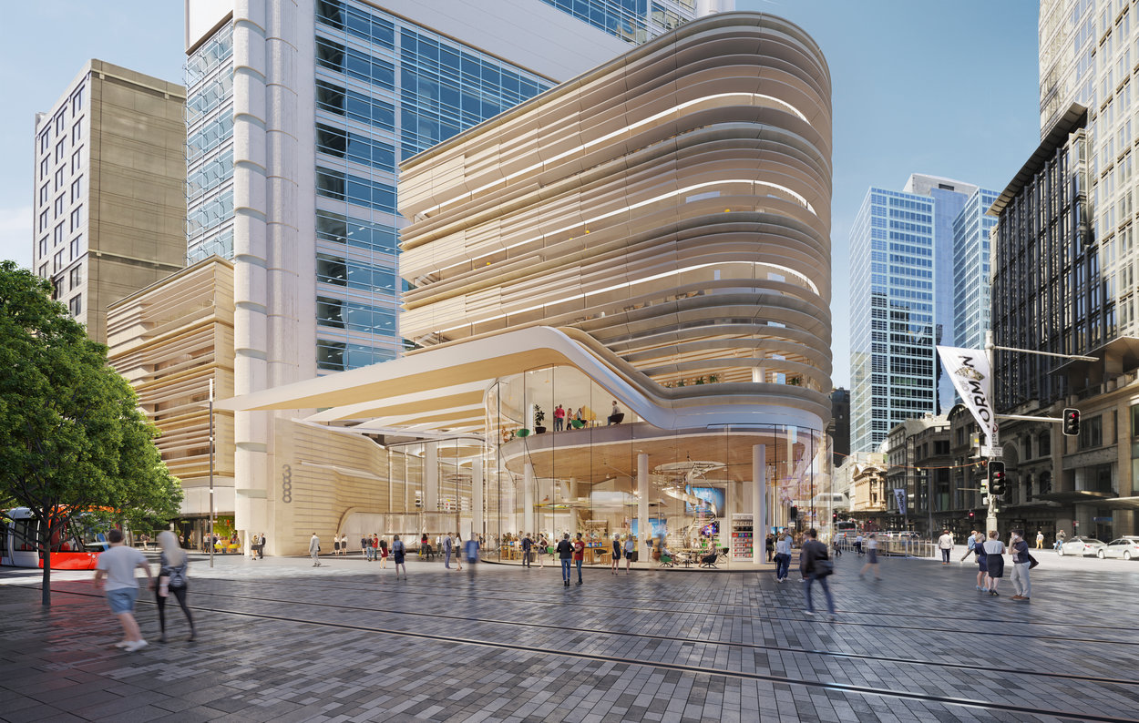 The proposed podium at 388 George Street, Sydney, will have a glass, metal and sandstone facade.