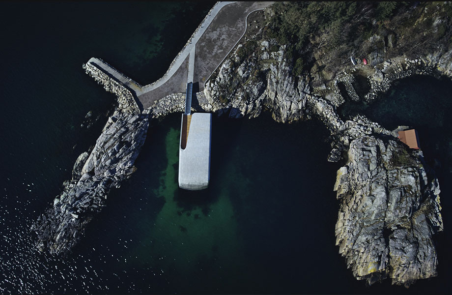 Located in Lindesnes, Norway, the structure is designed to integrate into its marine environment.
