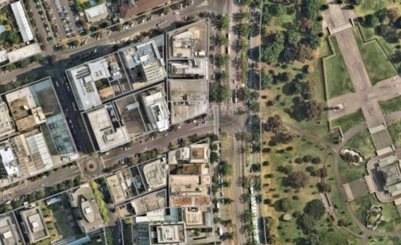Mid article image 800x450, and aerial image overlooking Dorcas Street, Southbank and the Shrine of Remembrance and parkland in Melbourne.