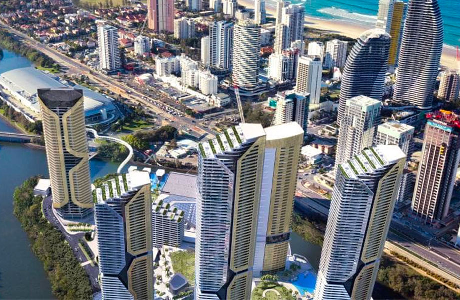 ▲ The state government-approved Broadbeach Island masterplan has seven towers in total, with two existing hotels the 600-room The Darling and the Star Grand, and five new towers yet to be completed.
