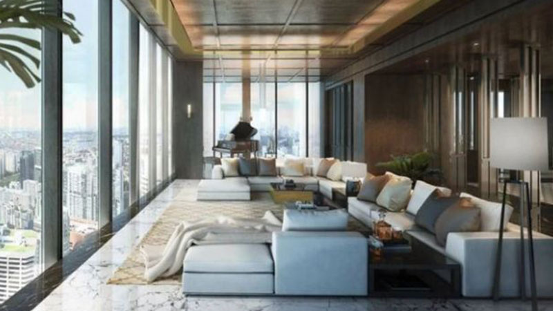 The five bedroom dwelling sits atop the Wallich residence in the Guoco Tower, a $3.2 billion mixed-use developmen.