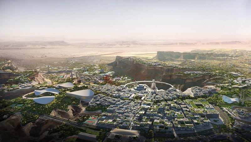 An artist's impression of Qiddiya in Saudi Arabia features a futuristic city set amongst rocky cliffs.
