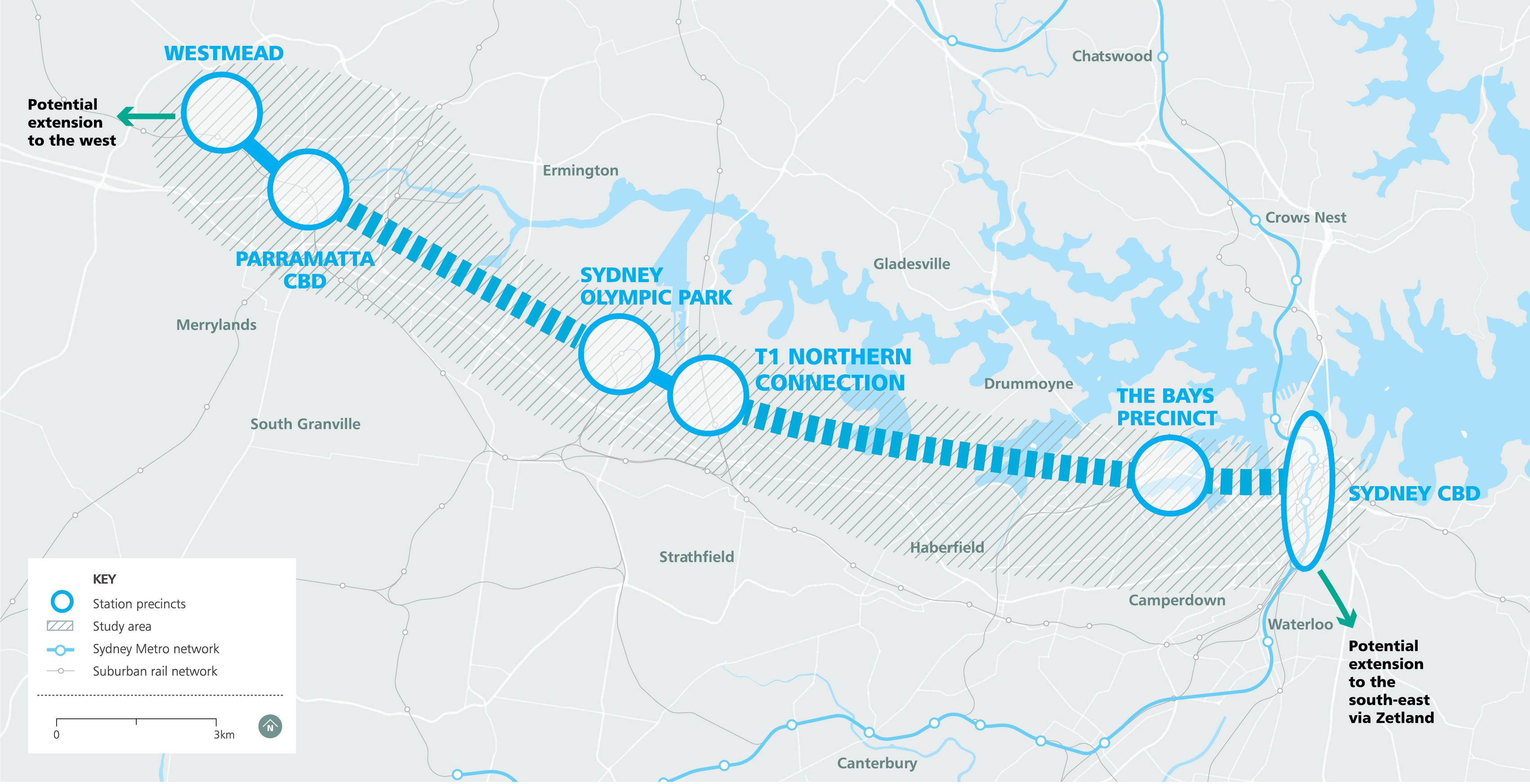 Sydney Metro West will service the key precincts of Greater Parramatta, Sydney Olympic Park, The Bays Precinct and the Sydney CBD.