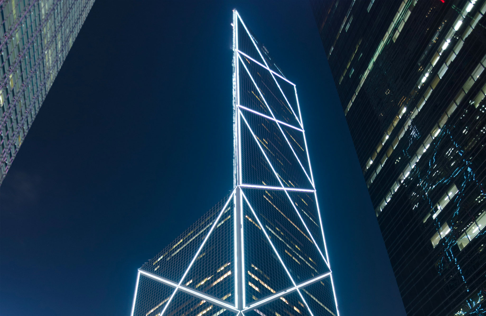 ▲ Taking inspiration from the growth of bamboo, The Bank of China Tower in Hong Kong was the city's tallest building when it was completed in 1989.