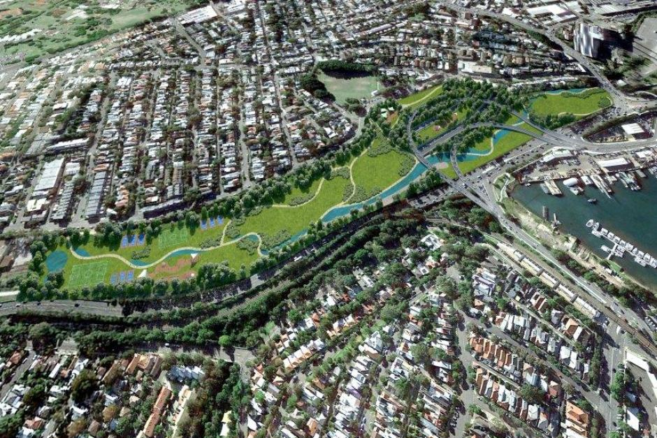 An artist's impression of the Rozelle Interchange. Desane's property lies within the depicted parkland area. More evidence heard in Court found that the land was being considered for use as a car park.