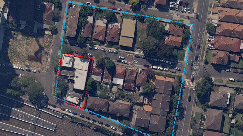 The image shows the proposed Club Burwood RSL site indicated in blue, an amalgamation of over 20 properties. The former Burwood Library site indicated in red.