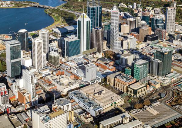 Carillon City aerial, Perth