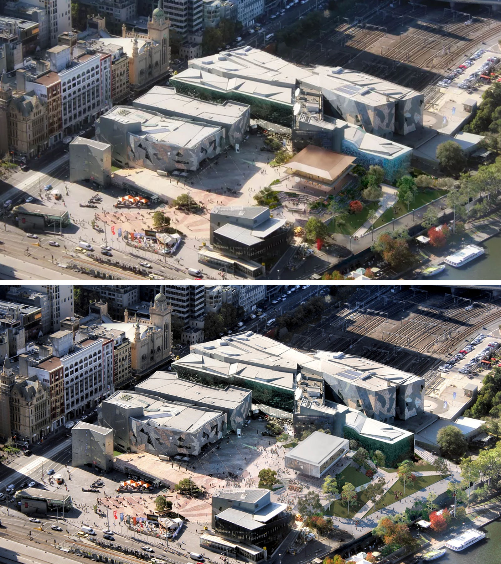 The original design (above) for the new Apple store attracted 800 submissions to council. The new design (below) outlays a floating box which will be covered in solar panels.