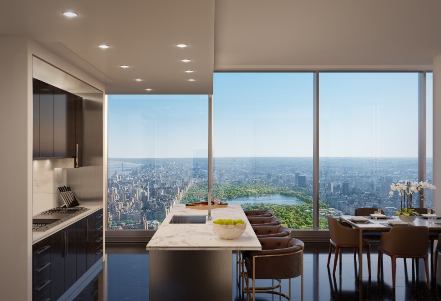At a height of 91 metres from the street level, the tower cantilevers to the east, creating Central Park views for north facing residences.