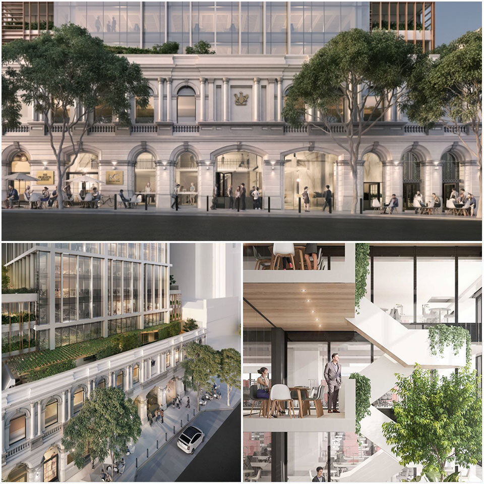 Artitst's render of Brisbane's Fender Katsalidis-designed Midtown centre, which celebrates the existing heritage-listed façade at the Charlotte Street entrance of the cross-block hub.