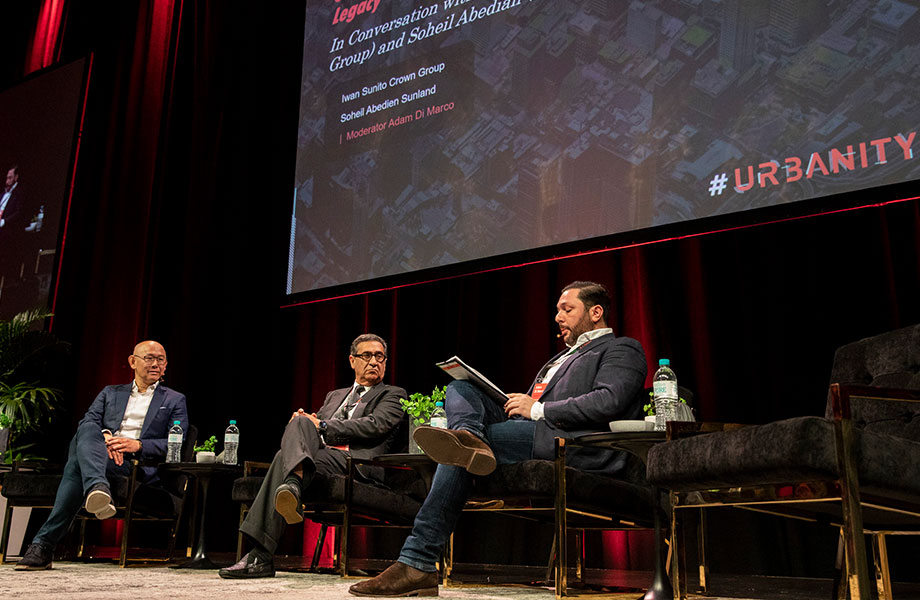 Crown Group founder Iwan Sunito in conversation with Sunland founder Soheil Abedian and The Urban Developer's Adam Di Marco at this year's Urbanity conference.