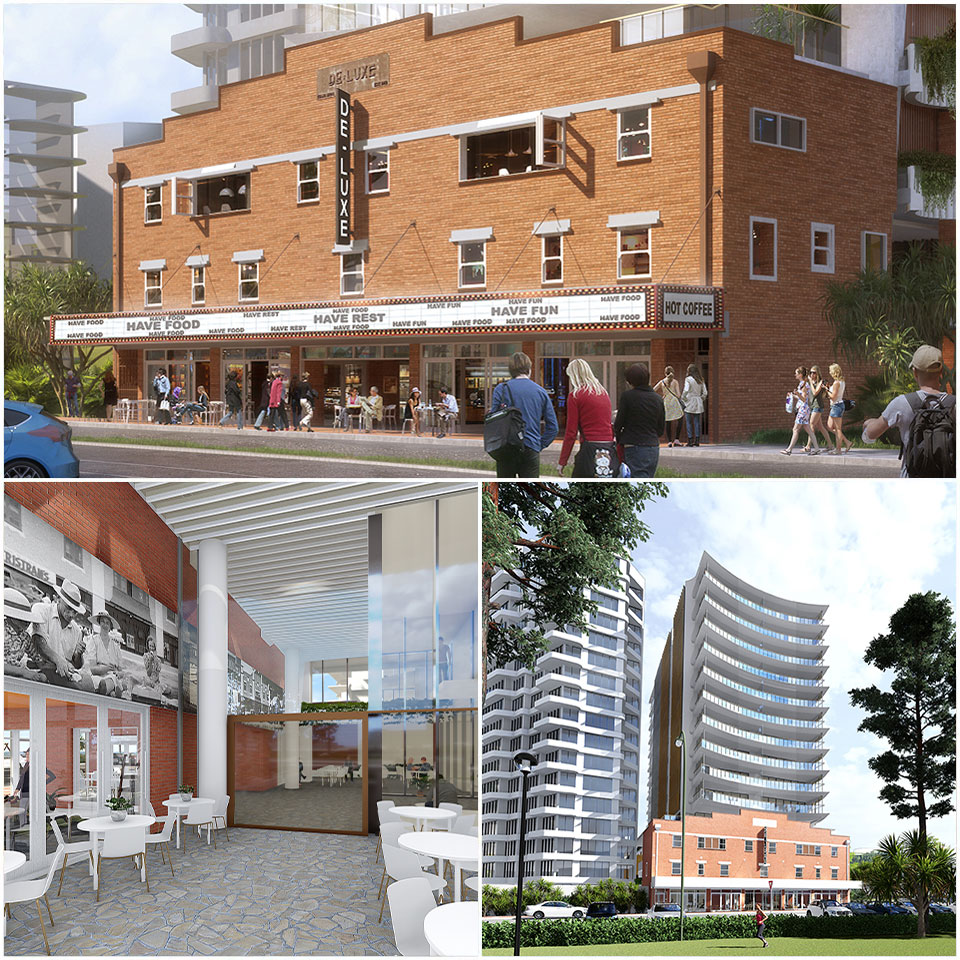 Multiple views of proposed residential development for the historic Burleigh theatre.