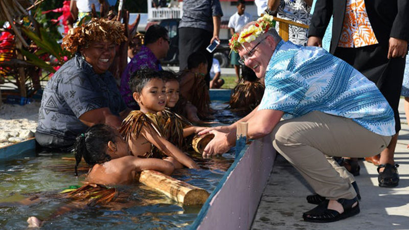 Prime Minister Scott Morrison at the Pacific Islands Forum in August