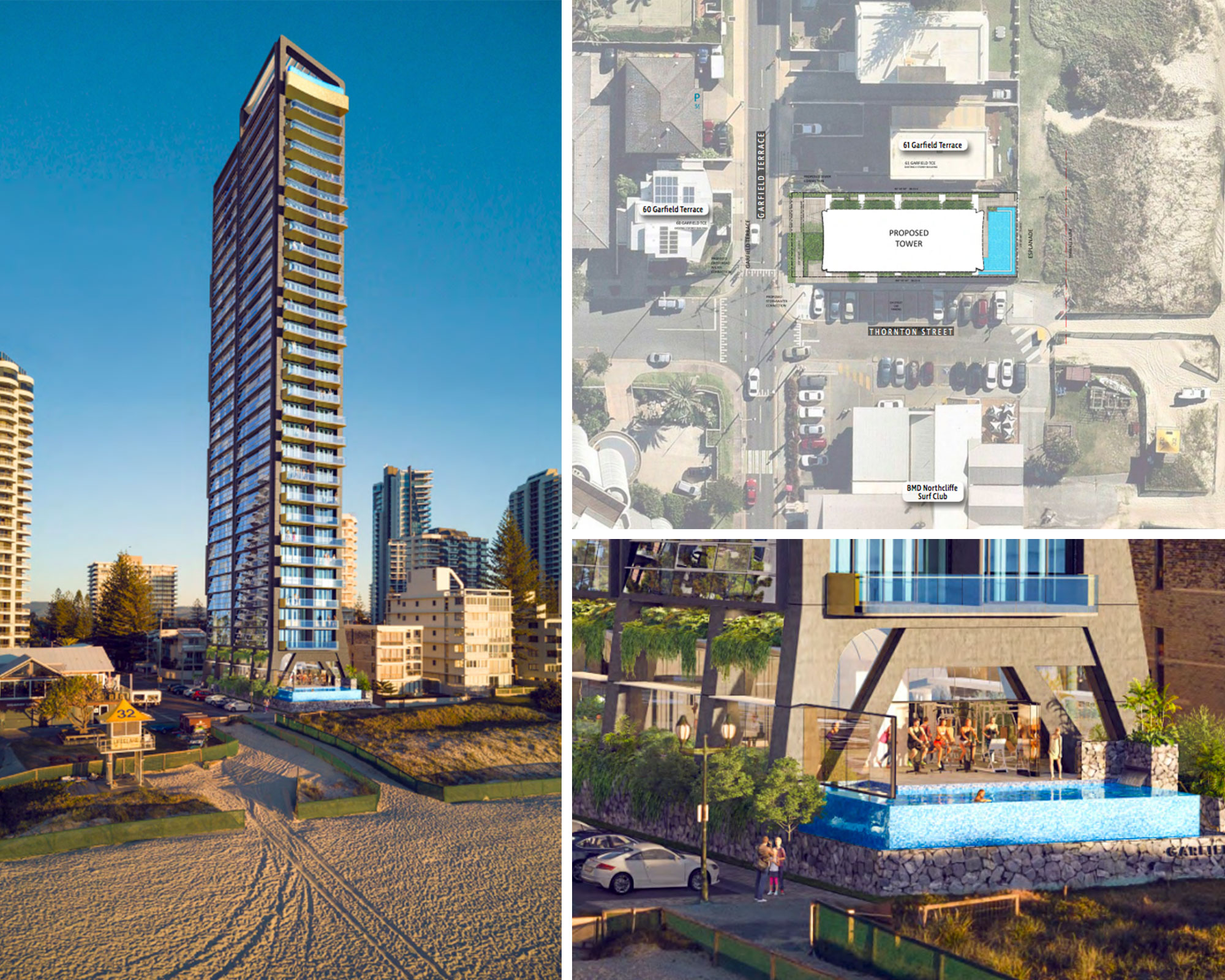 The proposed tower neighbours the Northcliffe surf club and offers absolute beach front access.