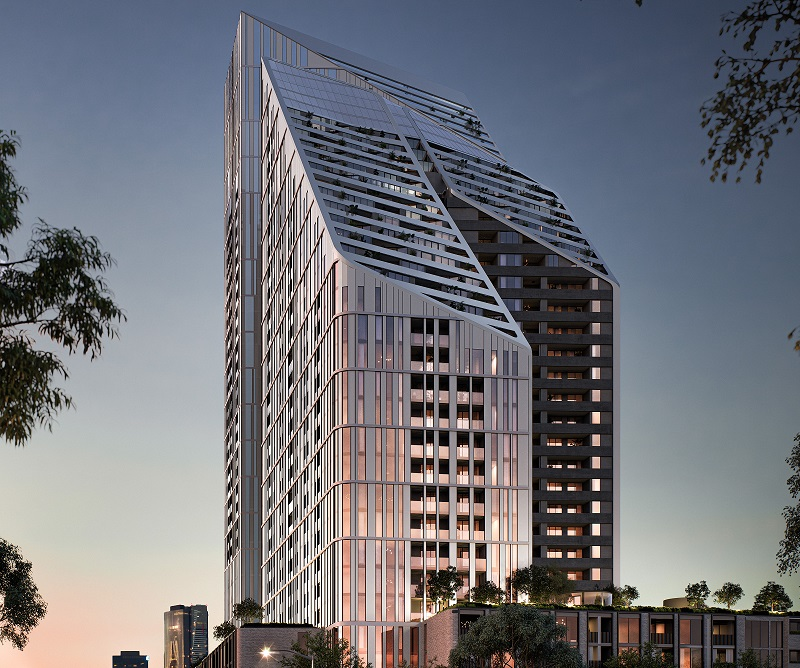 ▲R.Corporation's dual luxury towers will eventually include 844 apartments over a five level podium.