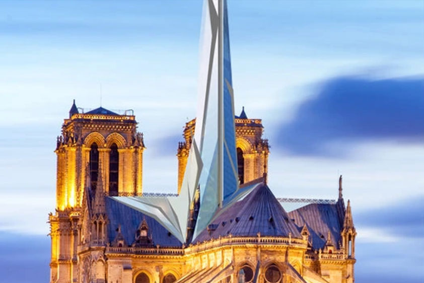 Architect Alexandre Chassang's proposal calls for a new spire made of triangles of glass.