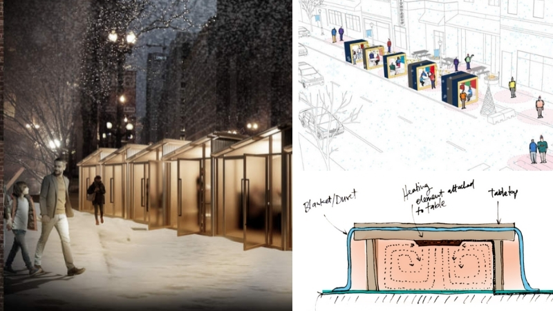 The winners of Chicago's winter design challenge are ASD/SKY's cosy cabins, Neil Reindel's block party and Ellie Henderson's heated kotatsu tables.