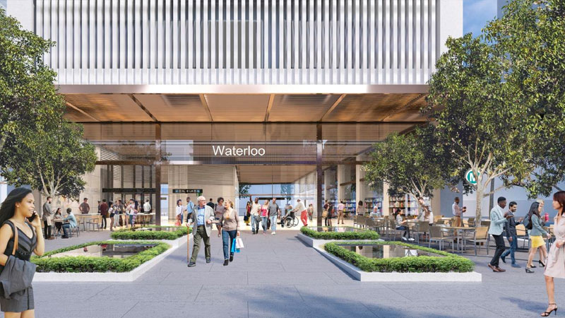 ▲ The site of the Sydney Metro Waterloo Station under construction on Botany Road and Raglan Street corners.