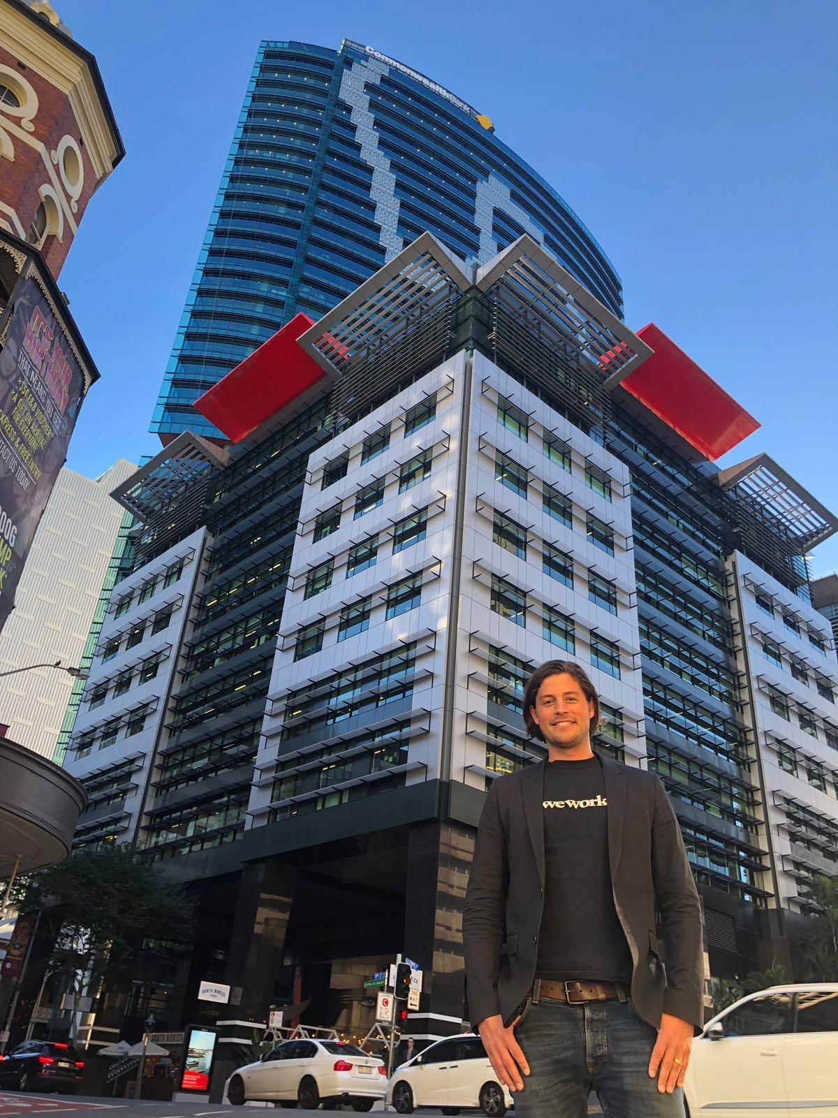 WeWork Australia GM Balder Tol outside the company's sixth Australian office site, 310 Edward Street Brisbane.
