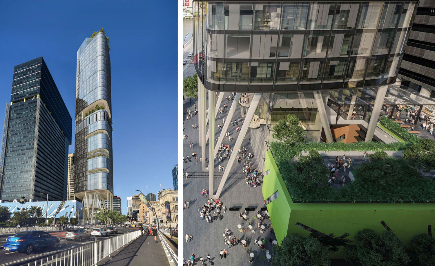 Artist's impression of Brisbane Square Tower 2 which has since been halted by the Brisbane City Council due to planning restrictions.