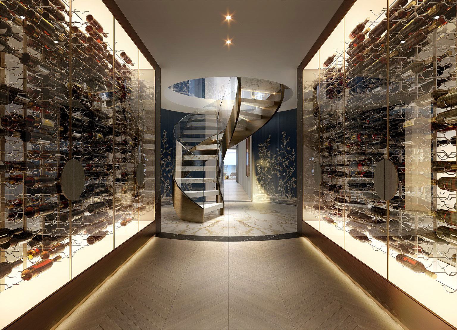 The penthouse will feature a 1000-bottle wine cellar which will be accessible via a sculptural spiral staircase.