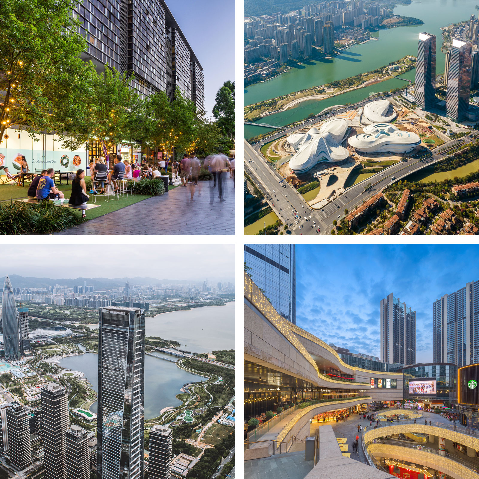 Central Park - Sydney (top left), Changsha Jinmao Meixi Lake Int Plaza - Changsha (top right), One Shenzhen Bay - Shenzhen (bottom left), UNI-Center - Shenzhen (bottom right).