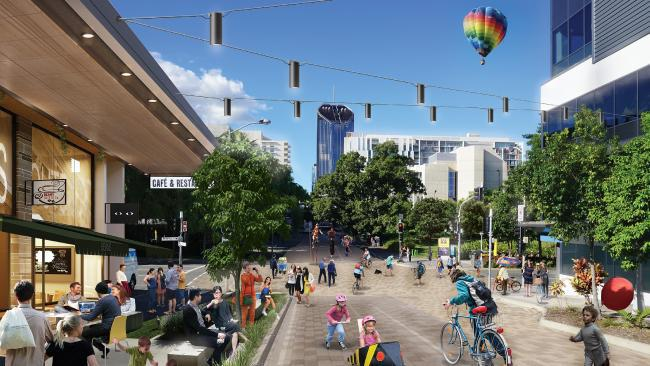 """An artist's impression of the new """"Festival Street"""" along Glenelg St, linking South Bank to Musgrave Park: Vision South Bank"""