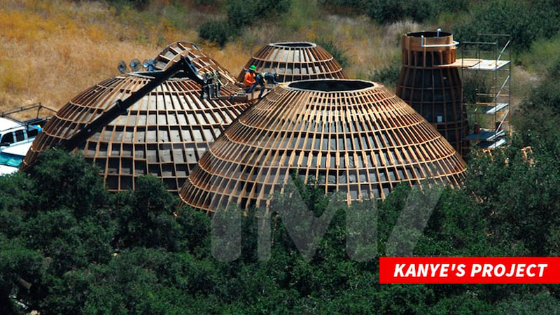 ▲ New images released by TMZ show construction crews hard at work on the domed structures. Source: TMZ.