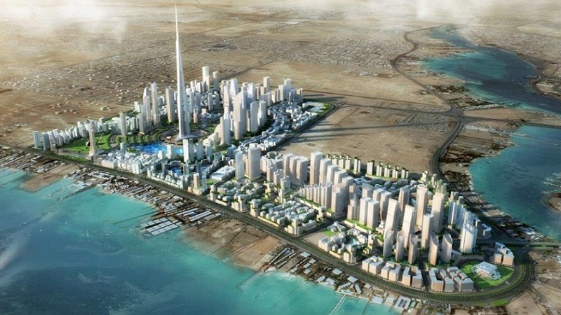 A render of how the world's tallest tower would look as the centrepiece of the yet to be built Jeddah Economic City in Saudi Arabia. The site alongside a river has one huge building surrounded by other skyscrapers.