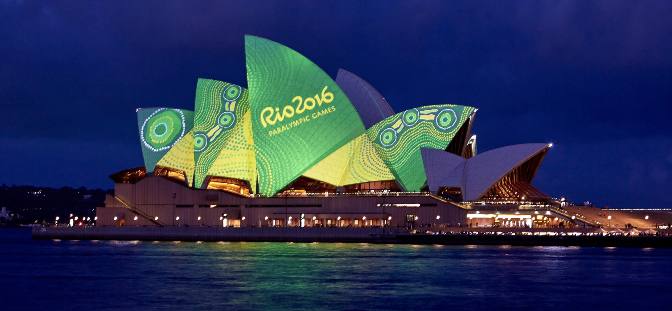 Australia's Rio 2016 Paralympians became Australia's first Olympic team to wear Aboriginal-themed uniforms. Balarinji lit up the sails of the Sydney Opera House with the designs, which represented strength through diversity.