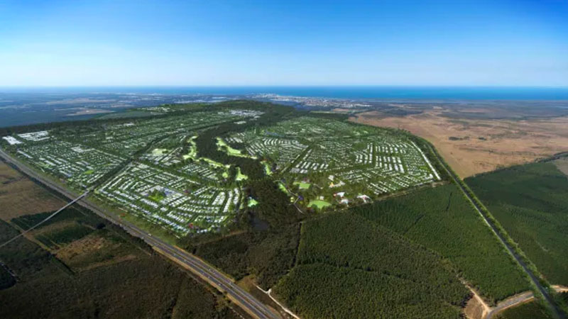 An aerial view of Stockland's Aura masterplanned estate on the Sunshine Coast. Image: Supplied