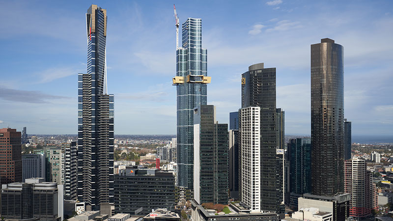 The 100-storey, 319-metres tall super-skyscraper in South Melbourne has 'topped out'. Australia 108