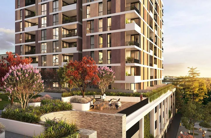 Toga's masterplan for Penway Place, Penrith features four-building mixed-use buildings with a commercial podium and four residential towers and green space between them.
