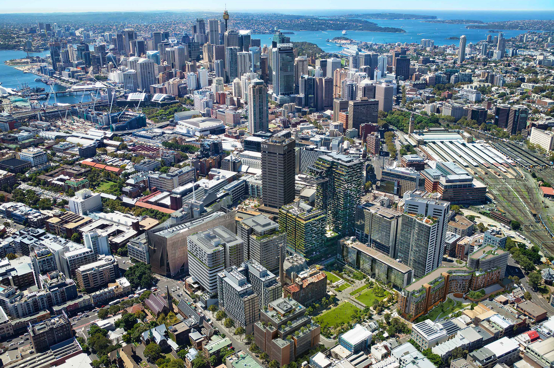 """Central Park is a multi-stage $2 billion """"urban village"""" spanning more than five hectares and includes public spaces, apartments, student accommodation, a hotel and retail and commercial space."""