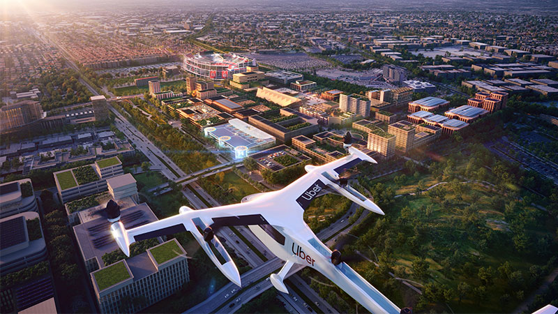 ▲ For its first Uber Skyport, the ridesharing giant will team with real estate developer Related Companies. Plans are to construct the first skyport in Santa Clara, California, where Related has a 240-acre urban development in progress. Image: Foster + Partners
