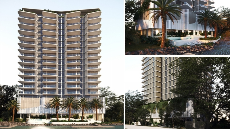 A white 17 storey tower with palm trees, to be built alongside the Nerang River in Surfers Paradise.