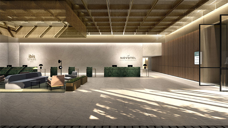 Dual branded airport hotel under construction, interiors by Woods Bagot