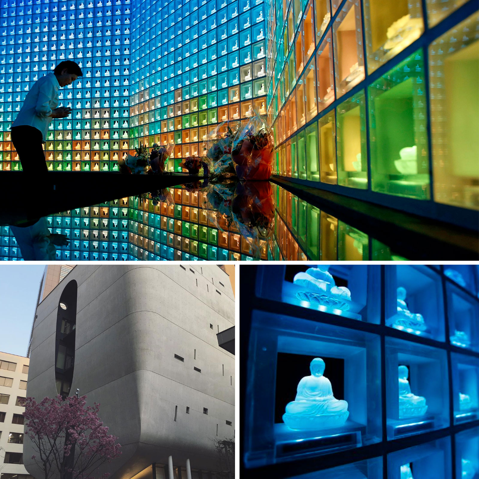 Japan's techno-cemeteries replace tombstones with LED Buddhas and conveyor belts.
