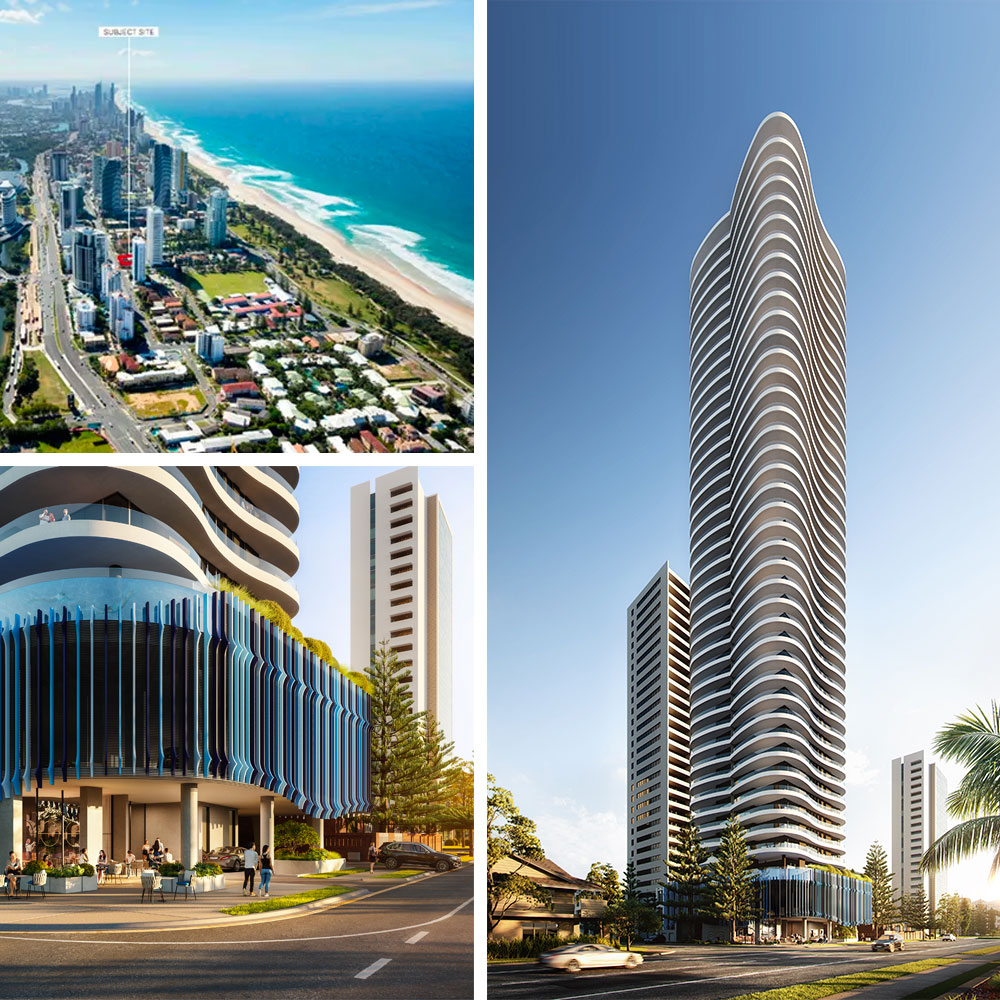 """Bassar Group's 40-storey """"infinity"""" tower will join a slew of other projects under construction in Broadbeach."""