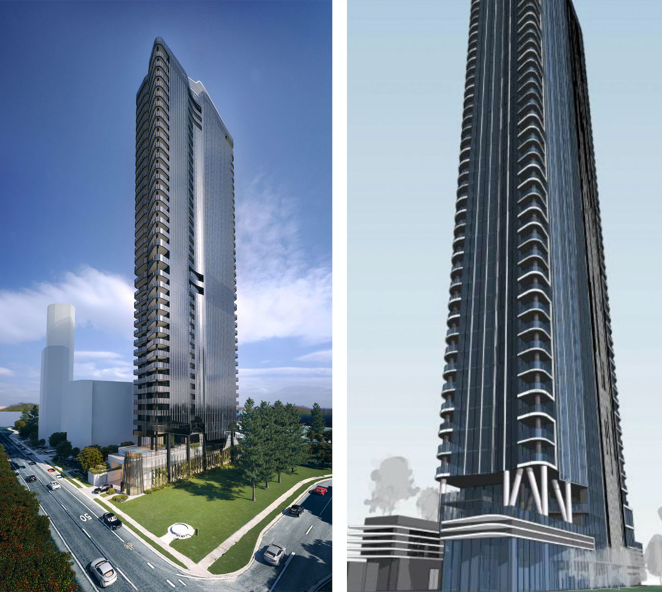 The new Cottee Parker-designed scheme (left) is 38-storeys, the old scheme is on the right.