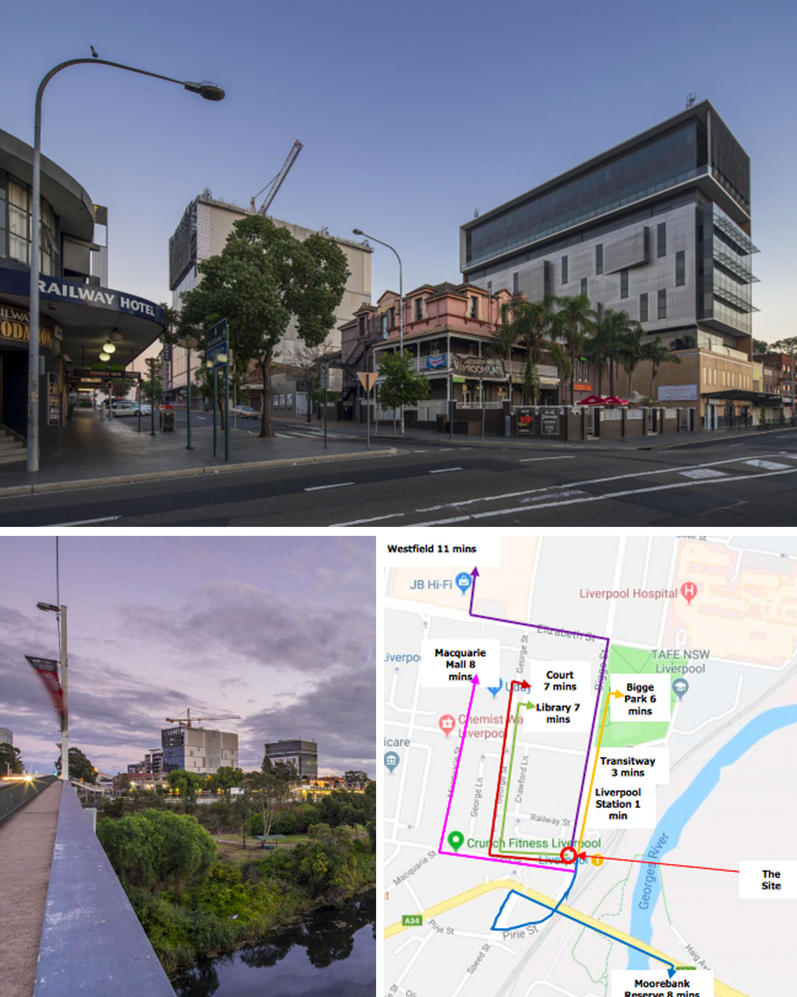 The Commercial Hotel as it stands (top), the view of the site from Newbridge Road (left) and a map of the walking catchment of the site (right).
