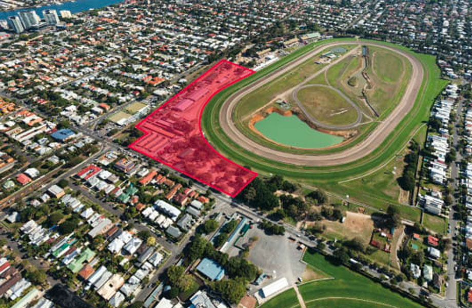 The site on the corner of Lamington and Mordant Streets, about 7 kilometres from the Brisbane CBD, is bounded by the Southern Cross Way and the Doomben racecourse.
