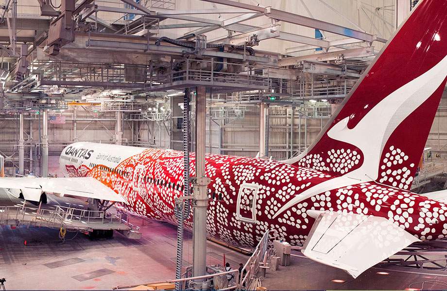 The fifth aircraft design in the Qantas-Balarinji flying art series. Balarinji created the design based on the internationally renowned artist Emily Kame Kngwarreye's 1991 painting 'Yam Dreaming'.