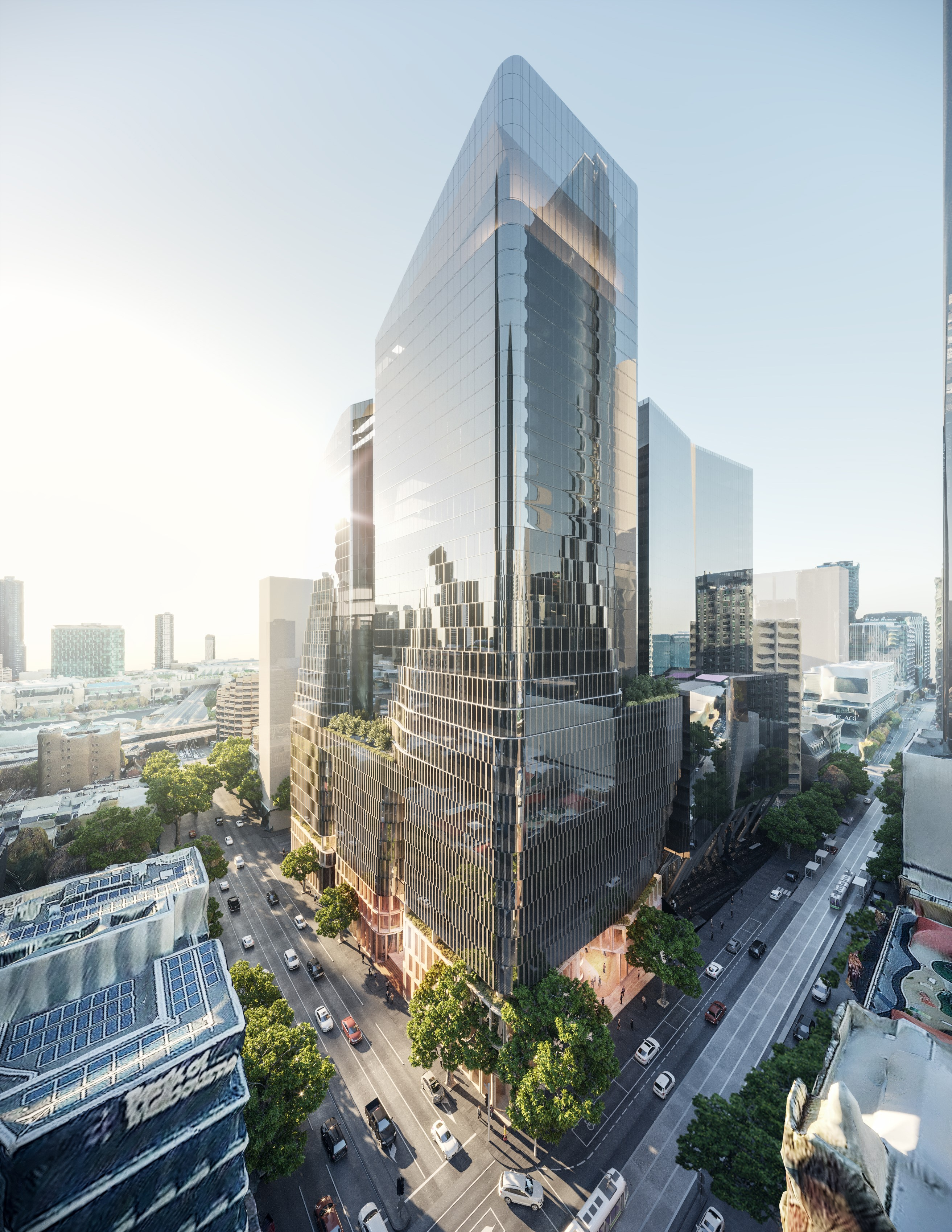 The first stage will be the 35 level tower at 555 Collins Street site. A 32-level tower on 55 King Street is part of the second stage.
