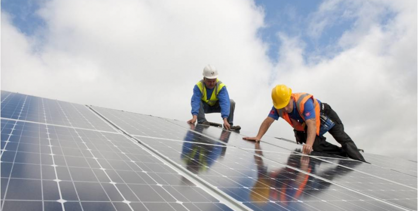 Solar panels being installed in San Francisco, Northern California.