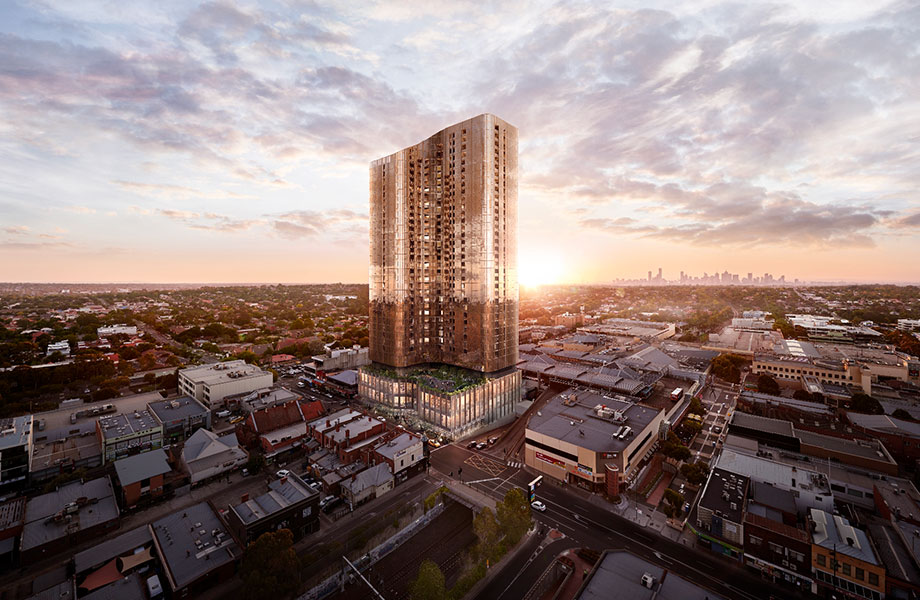 Sky One, a 36-storey mix use building at 545 Station Street Box Hill.
