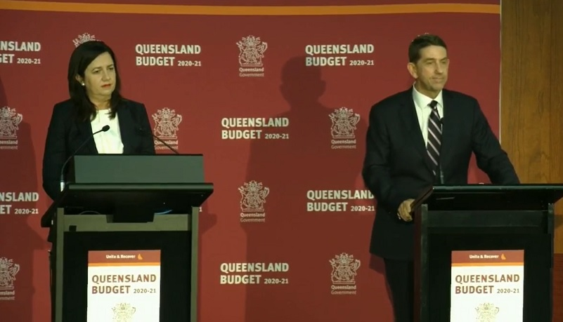 ▲ Annastacia Palaszczuk and Cameron Dick deliver the Queensland Budget for 2021.